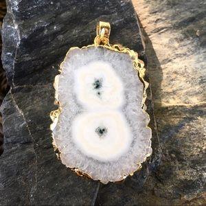 24k gold dipped white & green solar quartz pendant